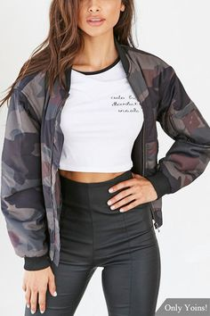 665c8e6298 Camo Fashion Long Sleeves Zipper Bomber Jacket - US 29.95 -YOINS Camo  Fashion