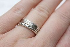 thin wedding band ring with vines  recycled by peacesofindigo, $83.00