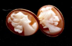 Vintage Cameo Earrings 14k Gold Yellow Hand Carved Shell Pierced Post Estate   eBay