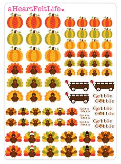 Thanksgiving Turkey Stickers for your Planner, scrapbook, calendar, etc. by…