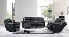 Black Leather Dual Reclining Sofa Loveseat Recliner Motion Living Set