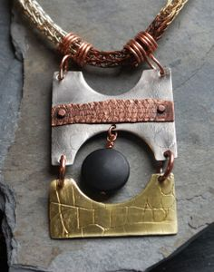 """Swinging"" pendant - Viking knit chain mixed metals."