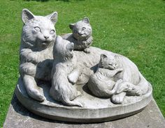 Mother & Kittens Cat Statue,