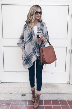 FALL MUST HAVE!! fur trim coat or reversible Fall wrap poncho on pinterestingplans