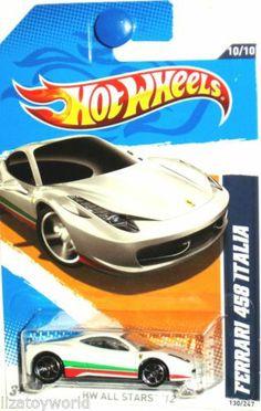 2012 Hot Wheels All Stars Ferrari 458 Italia White 130247 Hot Wheels Case, Hot Wheels Party, Automobile, Play Vehicles, Matchbox Cars, Fancy Cars, Camaro Ss, Diecast Model Cars, Ferrari 458