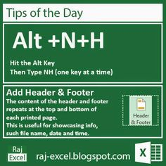 Raj Excel: Tips of the Day: Microsoft Excel 2013 Short Cut Keys: Alt + NH (Add a Header & Footer)