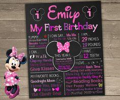 Minnie Mouse First Birthday Chalkboard Minnie by ChalkyPrints