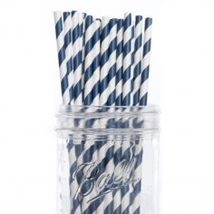 Vintage Paper Drinking Straws - Navy Blue Striped Paper Straws (25/Pack)