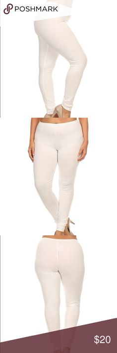 White Leggings ✨NWOT✨ Classic white full-length leggings by Poliana Plus. These stretch-enhanced leggings are a go-to essential for your comfy-chic ensembles. Size XL (12-14). Fits true to size. Lightweight, soft & stretchy, 94% polyester & 6% spandex. Made in USA. Never worn & no flaws. 👍 15% off 3+ item bundles! Poliana Plus Pants Leggings