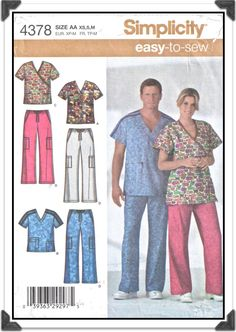 SIMPLICITY Pattern 4378 - Misses Mens Unisex Scrubs - V-Neck or Wrap Top and Drawstring Pants - Sz XS-S-M - Vintage 2000s. $6.00, via Etsy.