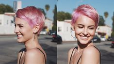 Lisa cimorelli's short pink hair