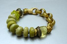 Natural Yellow Turquoise Gemstone Bracelet with by pmdesigns09, $78.00