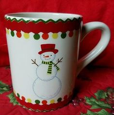 Large Sur La Table Snowman in Hat Scarf Ceramic Coffee Mug Christmas Holiday