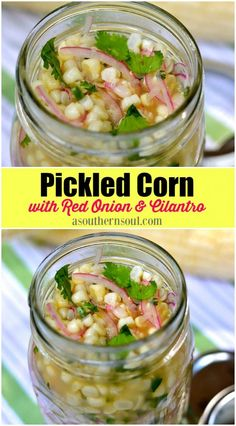 Southern Recipes Fresh corn, sweet red onions, spicy jalepenos, and cilantro, all put together in… Pickled Sweet Peppers, Pickled Corn, Pickled Red Onions, Sweet Pickled Onions Recipe, Pickled Veggies Recipe, Pickled Meat, Canning Recipes, Salad Recipes, Canning Corn