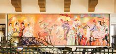 """Fiesta"" by Channing Peake, 1985, Santa Barbara Airport. Photo by Mercedes Lowe. From the Art of Santa Barbara History by Erin Graffy de Garcia in the summer issue of Santa Barbara Seasons Magazine. http://sbseasons.com/2015/07/rearview-mirror-if-these-walls-could-speak-the-art-of-santa-barbara-history/ #sbseasons #sb #santabarbara #SBSeasonsMagazine To subscribe visit sbseasons.com/subscr"