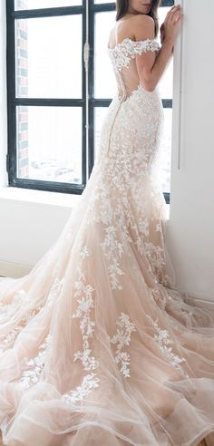Luna wedding dress by Kelly Faetanini in Blush // Ombre blush fit to flare with off the shoulder neckline and embroidered appliques