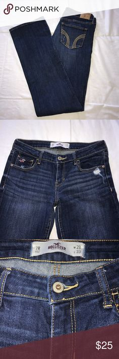 REDUCED SHIPPING Hollister Jeans Bootcut Hollister jeans. Size 7 or size 28. Stretchy and distressed. Very comfy! I adore these jeans  very well taken care of. Never dried in the dryer Hollister Jeans Boot Cut