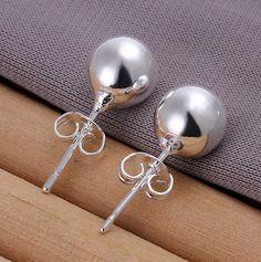 Wholesale silver plated Earrings for women silver 925 jewelry fashion jewelry , Bean Earrings /ajkajara ailaizsa Simple Earrings, Round Earrings, Simple Jewelry, Women's Earrings, Trendy Jewelry, Fine Jewelry, Fashion Earrings, Fashion Jewelry, Style Fashion