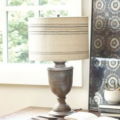 Salerno Urn Table Lamp with Shade  | Lighting | Ballard Designs    Click on the chocolate with gray wash, plain linen shade. x 2 for sofa table behind couch