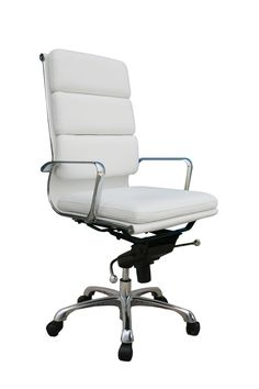 Ju0026M Chic Modern Plush White Leather High Back Office Chair Contemporary  Design In Home U0026 Garden, Furniture, Chairs