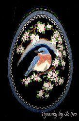 UKRAINIAN PYSANKY EGGS BY SO JEO, KATHERINE LeBLOND BLUEBIRD IN APPLE TREE.