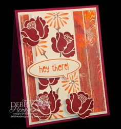 "Debbie's Designs: Acrylic Batik Technique!...Notice the multiple colors I used in completing my background? I embossed the Hardwood Stamp image for the background on my card above so that multiple colors peek through... Using a piece of Whisper White Cardstock measuring 3 3/4"" x 5"", emboss the Hardwood stamp image using VersaMark Ink and Clear Embossing Powder."
