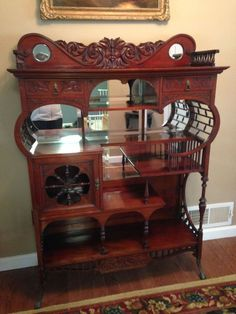 ANTIQUE VICTORIAN MAHOGANY CURIO CABINET ETAGERE SHELF,looks like the one from Gilmore girls!