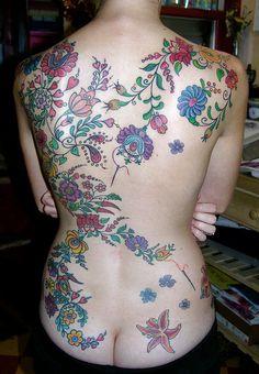 embroidery design tat Hungarian Embroidery Backpiece Tattoo by Jennifer Moore Hungarian Tattoo, Hungarian Embroidery, Brazilian Embroidery, Tatoo Art, Tattoo You, Body Art Tattoos, New Tattoos, Tatoos, Paint Tattoo