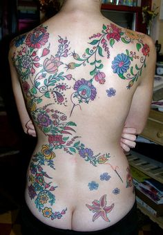 Hungarian Embroidery Backpiece Tattoo..love the design but not looking at that crack lol