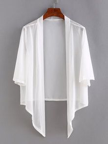 SheIn offers Open-Front Asymmetric Chiffon Cardigan & more to fit your fashionable needs. Gilet Kimono, Kimono Cardigan, Kimono Top, White Kimono, Summer Cardigan, White Cardigan, Mode Outfits, Skirt Outfits, Trendy Outfits
