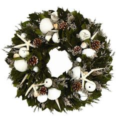 I pinned this Christmas On The Cape Wreath from the Coastal Christmas event at Joss and Main!