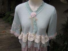 VINTAGE KITTY.. pretty soft crop cardi..mint green, lace, crochet.. shabby chic.. lambs wool, ooak..  small. $129.00, via Etsy.