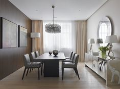 Dining Room Decor Idea At Airy Apartment Moscow Among Mirrored Sideboard Also Darkwood Dining Table Near Wood Floor