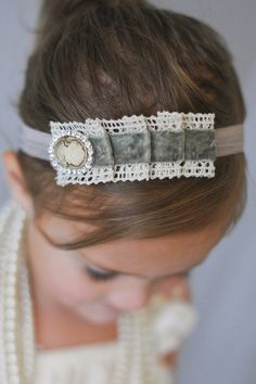 Baby headband, Adorable vintage inspired headband, baby girl headbands,newborn headband,baby bows, shabby chic lace and velvet headband.. $9.95, via Etsy.