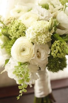 White ranunculus, cream mini hydrangea, green mini hydrangea, white lisianthus, moss, adiantum fern. Amber's wedding bouquet.