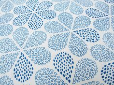 Hand Printed Fabric Royal Blue Rain Flowers   via Etsy.