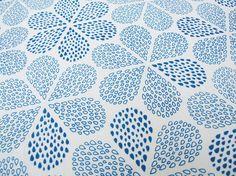 SALE Hand Printed Fabric Royal Blue Rain Flowers Hemp Organic cotton 50 x 35cm