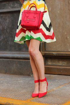 mini red celine bag and multi-colored chevron dress #fashion