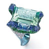 The Tempest: Anello vintage con tanzanite, lapislazzuli, diamanti bianchi e zaffiri.
