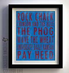 Kansas University Jayhawks Subway Scroll Art by texowadesigns, $25.00