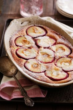 Part pudding part cake, Plum Clafouti will satisfy all kinds of dessert fans thins Thanksgiving.