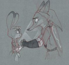Mistake of Nature    A feeling in the heart that becomes even stronger over time.    #wildehopps #legend #of #zelda #zootopia #judy #hopps #nick #wilde #toned #paper #drawing · #ink #and #pencil