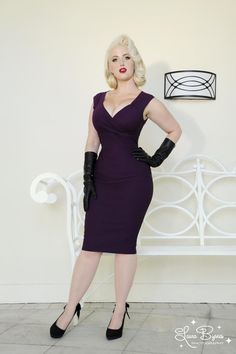 Pinup Couture Erin Wiggle Dress in Plum Stretch Bengaline