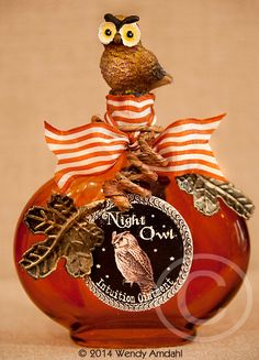 Halloween Potion Bottle Woodland Owl Apothecary by artfulgypsy, $15.00