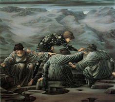"""Sir Edward Burne-Jones, """"Perseo e le Graie"""" (1878-1892)    Secondo episodio del Ciclo di Perseo. L'eroe, per accedere al rifugio di Medusa, ruba l'unico occhio delle Graie (sorelle delle Gorgoni) e riesce così a raggirarle."""