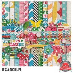 Free It's a Good Life Kit from justjaimee {solid papers are on her blog, pattern papers and elements on Facebook}