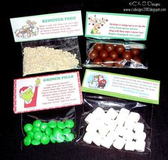Reindeer Food (looks like rolled oats): Reindeer Poop (chocolate balls): Grinch Pills (green M&Ms: and Snowman Poop (small white marshmallows) Merry Christmas, Christmas Gifts For Kids, Christmas Goodies, Christmas Treats, Christmas Humor, Winter Christmas, Christmas Presents, Christmas Time, Christmas Parties