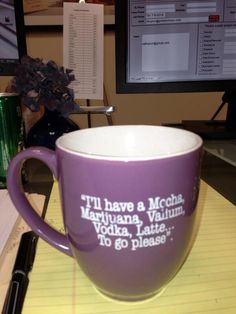 "I have a sign Mary got me however that says ""I'd like a cafe mocha vodka xanax latte to go please"" Coffee Talk, My Coffee, Coffee Mugs, Coffee Quotes Funny, Coffee Humor, Starbucks Menu, Too Much Coffee, Silly Me, Coffee Dessert"