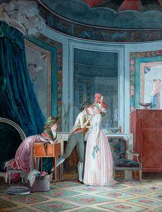 Mallet, Jean-Baptiste (b,1759)- Man Kissing Woman w Onlooker -2b