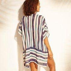 Women's Open Front Kimono Cover Up - Kona Sol Multi Stripe L/XL, Blue Summer Kimono, Wide-brim Hat, Women Swimsuits, Boyfriend Jeans, Cover Up, Closet, Blue, Tops, Products